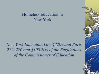 Homeless Education in  New York