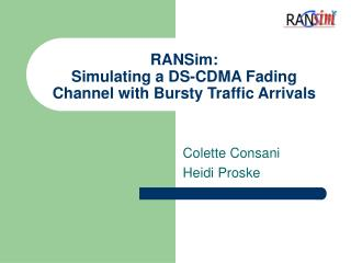 RANSim: Simulating a DS-CDMA Fading Channel with Bursty Traffic Arrivals