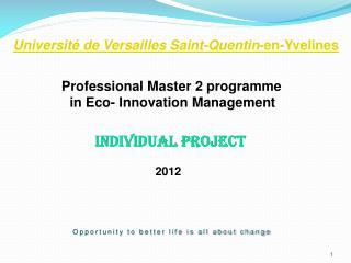 Université  de Versailles Saint-Quentin -en- Yvelines Professional Master 2 programme
