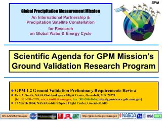 Global Precipitation Measurement Mission An International Partnership &
