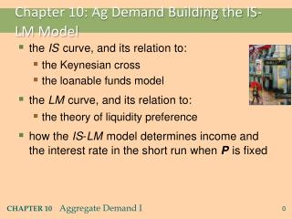 Chapter 10: Ag Demand Building the IS-LM Model
