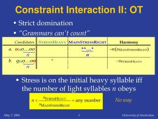 Constraint Interaction II: OT