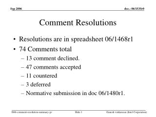 Comment Resolutions