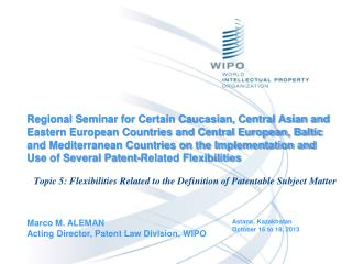 Marco M. ALEMAN Acting Director, Patent Law Division, WIPO