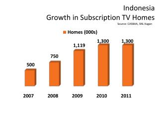Indonesia Growth in Subscription TV Homes