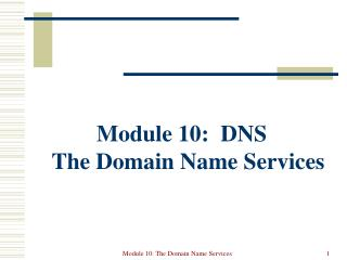 Module 10:  DNS The Domain Name Services