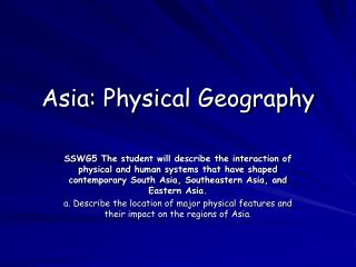 Asia: Physical Geography