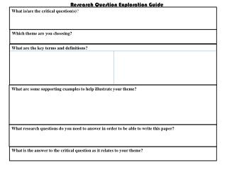 Research Question Exploration Guide