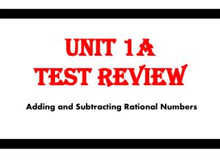 Unit 1A  Test Review