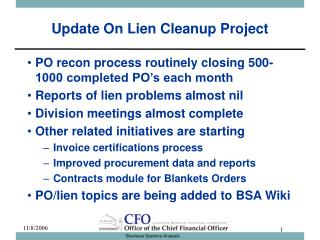 Update On Lien Cleanup Project