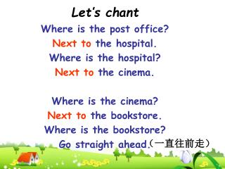 Let's chant Where is the post office? Next to  the hospital. Where is the hospital?