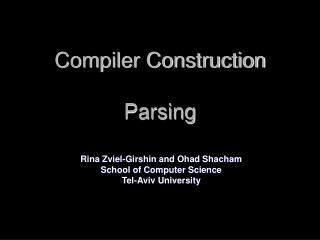 Compiler Construction Parsing