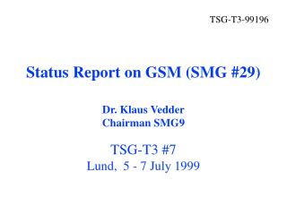 Status Report on GSM (SMG #29)