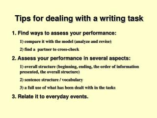 Tips for dealing with a writing task