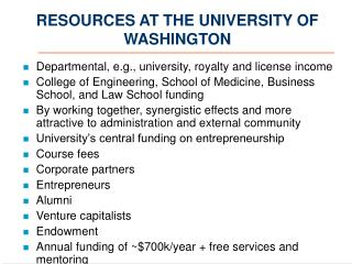 RESOURCES AT THE UNIVERSITY OF WASHINGTON