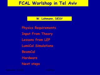 FCAL Worlshop in Tel Aviv
