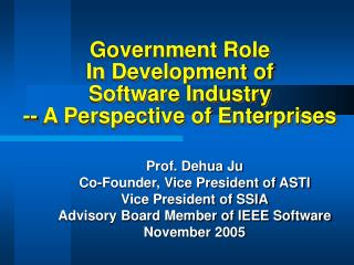 Government Role  In Development of  Software Industry -- A Perspective of Enterprises