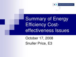 Summary of Energy Efficiency Cost-effectiveness Issues