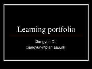 Learning portfolio