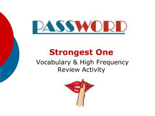 Strongest One  Vocabulary & High Frequency Review Activity