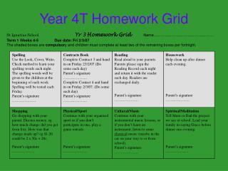 Year 4T Homework Grid