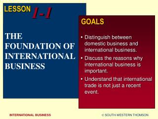 THE FOUNDATION OF INTERNATIONAL BUSINESS