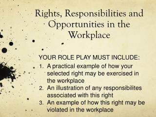 Rights, Responsibilities and Opportunities in the Workplace YOUR ROLE PLAY MUST INCLUDE: