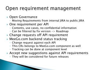 Open requirement management