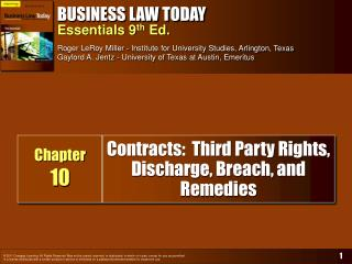 Contracts:  Third Party Rights,  Discharge, Breach, and Remedies