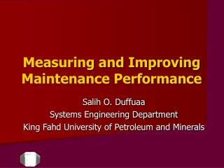Measuring and Improving Maintenance Performance