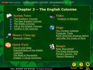 Chapter 3 – The English Colonies