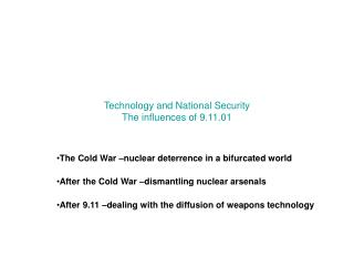 Technology and National Security The influences of 9.11.01