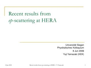Recent results from ep -scattering at HERA