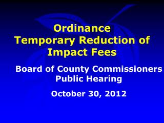 Ordinance Temporary Reduction of Impact Fees