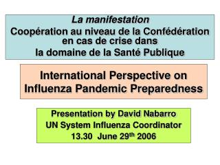 International Perspective on Influenza Pandemic Preparedness
