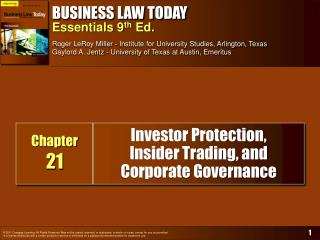 Investor Protection,  Insider Trading, and Corporate Governance