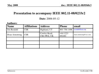 Presentation to accompany IEEE 802.11-08/0233r2