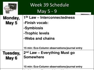 Week 39 Schedule  May  5  -  9