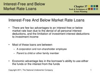 Interest-Free And Below Market Rate Loans