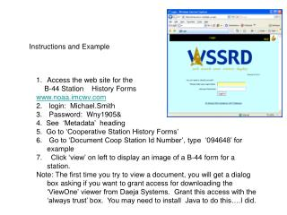 Access the web site for the      B-44 Station    History Forms noaa.imcwv