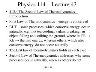 Physics 114 � Lecture 43