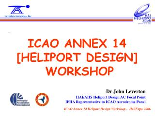 ICAO ANNEX 14 [HELIPORT DESIGN]  WORKSHOP