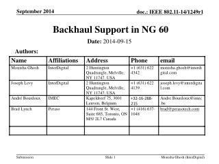 Backhaul Support in NG 60