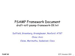 PSAMP Framework Document draft-ietf-psamp-framework-09.txt