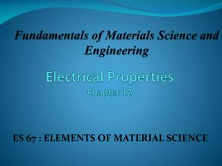 Electrical Properties Chapter 12