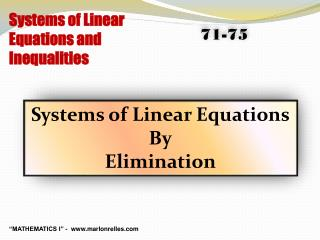 Systems of Linear Equations and Inequalities