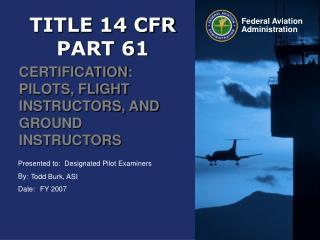 TITLE 14 CFR  PART 61