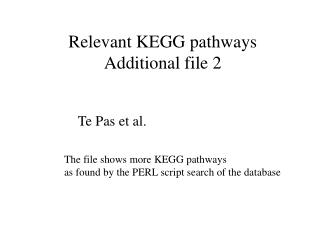 Relevant KEGG pathways Additional file 2