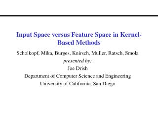 Input Space versus Feature Space in Kernel-Based Methods