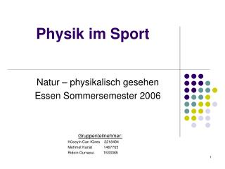 Physik im Sport